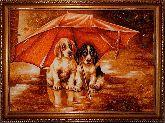 Картина милые собачки из янтаря