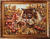 Картина милый котик из янтаря
