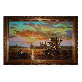 Картина Милый Закат солнца из янтаря