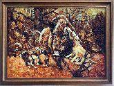 Картина охота мозаика из янтаря
