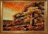 Картина осень золотая из янтаря