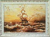 Картина парусник и бурлящее море из янтаря