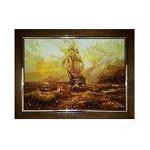 Картина Парусное судно из янтаря