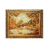 Картина речка в лесу из янтаря