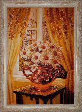 Картина ромашки у окна из янтаря