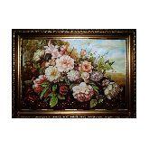 Картина с цветами пионы из янтаря