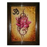 Картина с цветком из янтаря