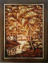 Картина с янтаря река и мост в парке