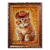 Картина с рыжим котом из янтаря