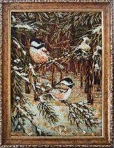 Картина синички в лесу из янтаря