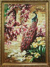 Картина сказочный павлин из янтаря