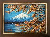 Картина снежная гора из янтаря