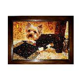 Картина собака из янтаря