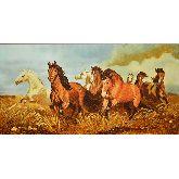 Картина Табун лошадей из янтаря