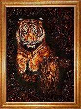 Картина тигра на полотне из янтаря
