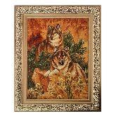 Картина волки на камнях из янтаря