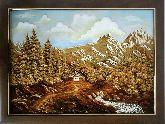 Картина живописные горы из янтаря