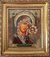 Казанская Богородица образ иконы из янтаря