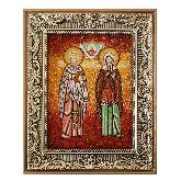 Киприан и Иустина икона из янтаря