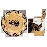 """Кофейный набор """"Лебедь"""". Подстаканник, чашка, блюдце, ложка"""