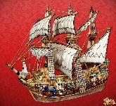 Фарфоровый штоф Корабль (цветной с золотом)