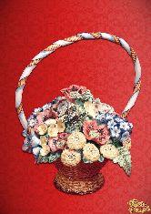 Фарфоровый штоф Корзина (цветная с золотом с ручкой)