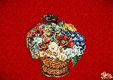 Фарфоровый штоф Корзина (цветная с золотом)