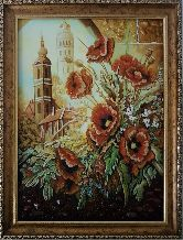 Красивые маки у окна картина из янтаря