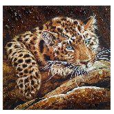 Красивый Леопард из янтаря