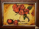 Картина из янтаря Красные розы