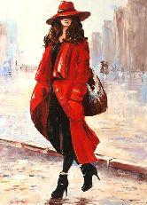 """Картина на холсте """"Женщина в красном пальто"""""""