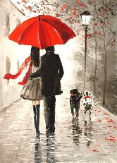 """Картина на холсте """"Под красным зонтом"""""""