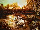 Картина из янтаря Лебединое озеро