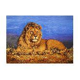 Лев на траве из янтаря