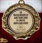 Медаль подарочная За выдающиеся достижения в сфере образования!