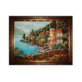 Лодочка на реке янтарная картина