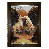Лошади у водопоя картина из янтаря