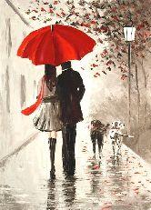 "Картина на холсте ""Двое под дождем"""