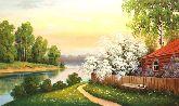 "Картина на холсте ""Домик у реки"""