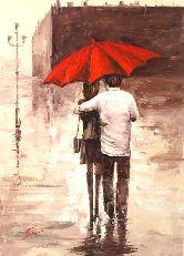 """Картина на холсте """"Укрывшись под зонтом"""""""