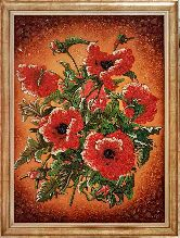 Маки на картине из янтаря