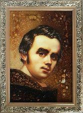 Молодой Тарас Шевченко Портрет из янтаря