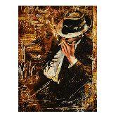 Мужчина с сигарой на картине из янтаря