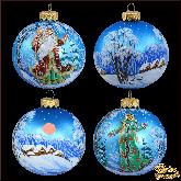 Набор ёлочных шаров ручной работы (4 на 80) С новым годом.