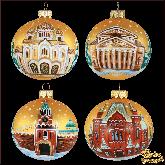 Набор ёлочных шаров ручной работы (4 на 80) Москва.