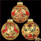 Набор ёлочных шаров ручной работы  Мезенская роспись.