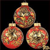 Набор ёлочных шаров ручной работы (3 на 100) Хохлома на красном.