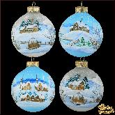 Набор ёлочных шаров ручной работы Зимний пейзаж.