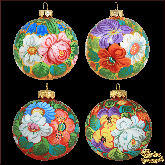Набор ёлочных шаров ручной работы (4 на 80) Жостово золото-красный.