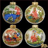 Набор ёлочных шаров ручной работы Сказки в стиле палех.